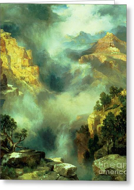 Height Greeting Cards - Mist in the Canyon Greeting Card by Thomas Moran