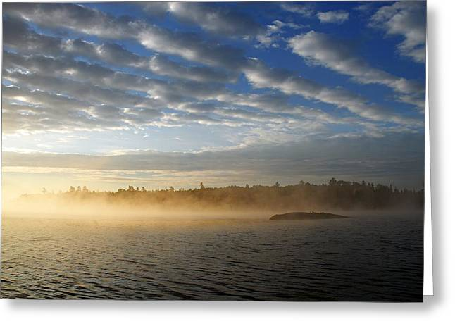 Boundary Waters Greeting Cards - Mist on Boot Lake Greeting Card by Larry Ricker