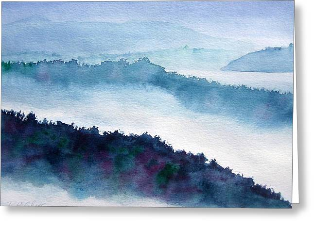 Mist On Howe Sound Greeting Card by Pat Vickers