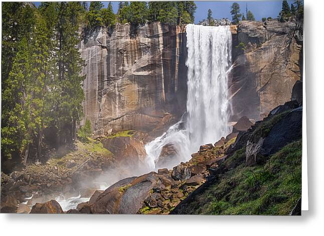 Vernal Greeting Cards - MIst Trail and Vernal Falls Greeting Card by Anthony Bonafede