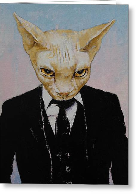 Black Tie Paintings Greeting Cards - Mister Cat Greeting Card by Michael Creese