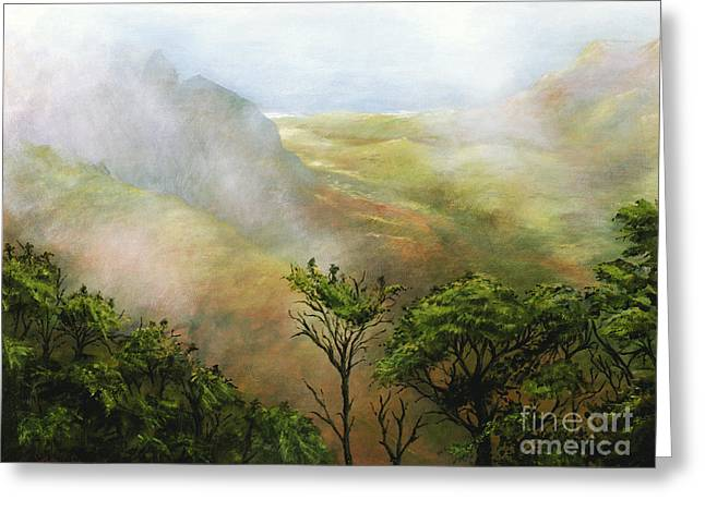 Foggy Ocean Paintings Greeting Cards - Mists of Kalalau Greeting Card by Sandra Blazel - Printscapes