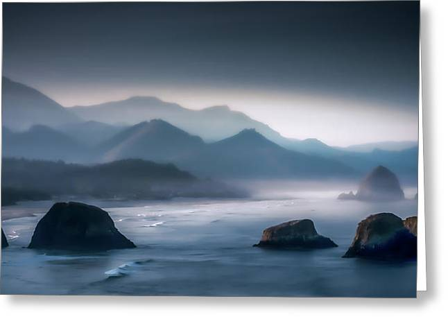Monolith Greeting Cards - Misty Among the Sea Stacks Greeting Card by Don Schwartz