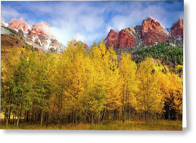 Misty Autumn Morning Greeting Card by Andrew Soundarajan