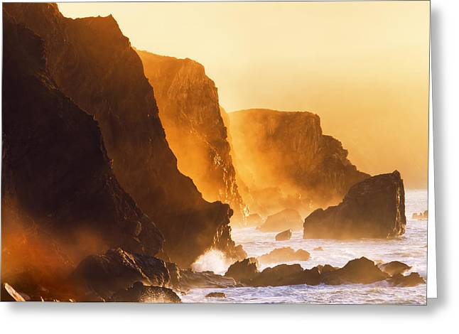 Pais Vasco Greeting Cards - Misty Cliffs In The Basque Country Coast Greeting Card by Mikel Martinez de Osaba
