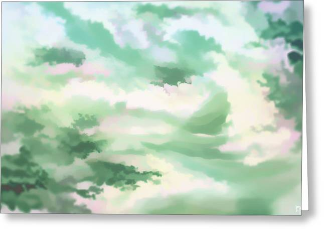 Misty Clouds Greeting Card by Francesca Borgo