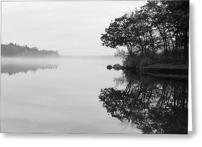 Canoeing Photographs Greeting Cards - Misty Cove Greeting Card by Luke Moore