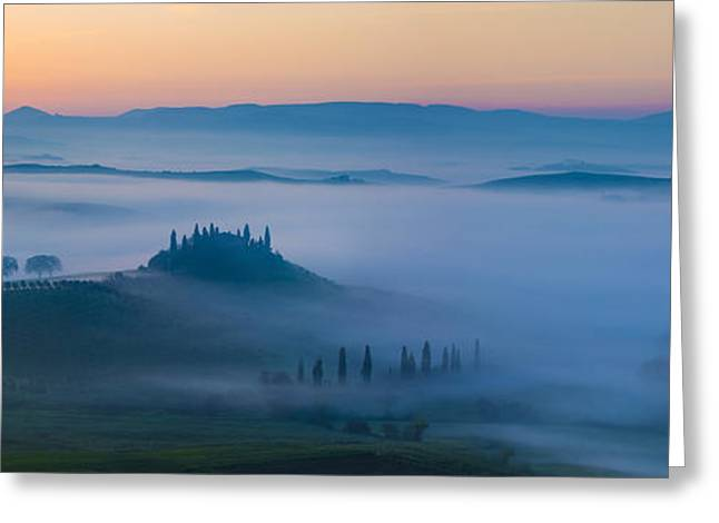 Tuscan Hills Greeting Cards - Misty Dawn in Tuscany Greeting Card by Brian Jannsen