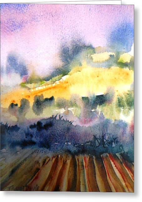 Sun Rays Paintings Greeting Cards - Misty Dawn over Ploughed Field  Greeting Card by Trudi Doyle