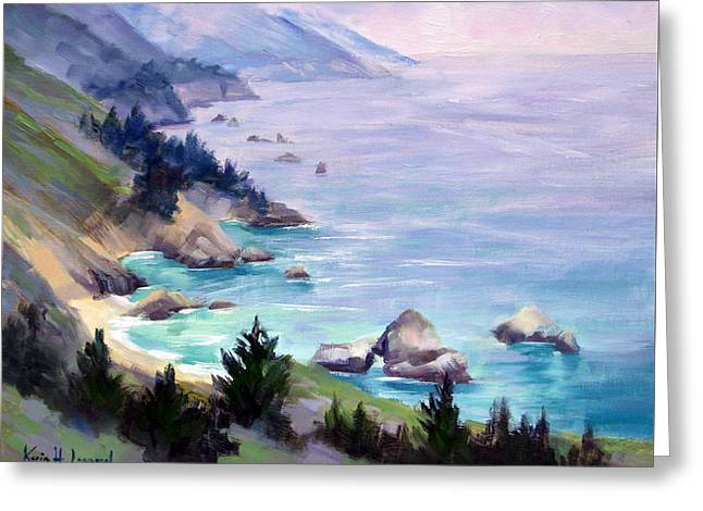 Misty Day, Big Sur Coast Greeting Card by Karin Leonard
