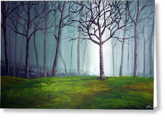 Lanscape Paintings Greeting Cards - Misty Forest Greeting Card by Alban Dizdari