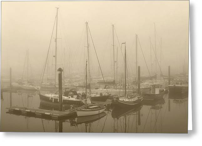 Misty. Greeting Cards - Misty Harbour Greeting Card by Terence Davis