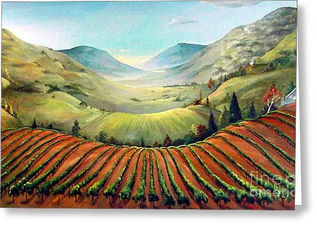 Pastoral Vineyard Paintings Greeting Cards - Misty Hills Greeting Card by Barbara Wilson