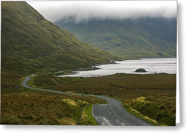 Roadway Greeting Cards - Misty Irish Morning Greeting Card by Sherri Fink