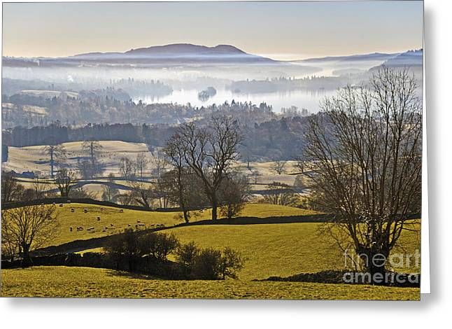 Temperature Inversion Greeting Cards - Misty lake. Greeting Card by Stan Pritchard
