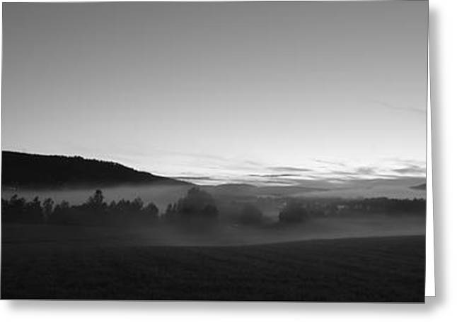 Hovering Greeting Cards - Misty landscape at dusk - monochrome Greeting Card by Intensivelight