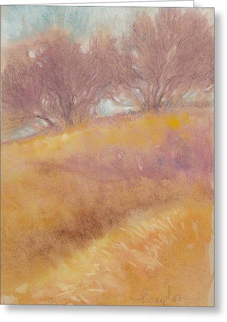 Haze Mixed Media Greeting Cards - Misty Landscape II Greeting Card by Tracie Thompson