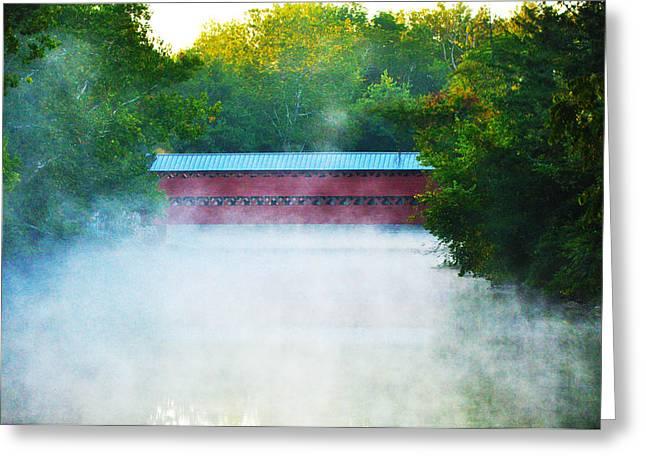 Stream Digital Greeting Cards - Misty Marsh Creek - Sachs Covered Bridge Gettysburg Pa. Greeting Card by Bill Cannon