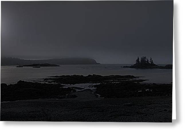 Maine Landscape Greeting Cards - Misty Moonlight on Wallace Cove Greeting Card by Marty Saccone