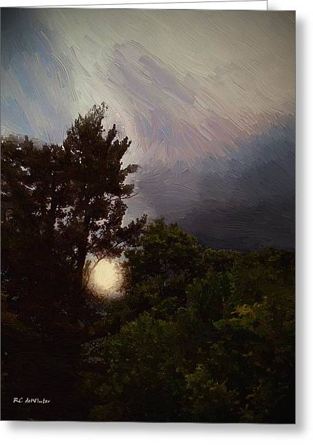 Moonrise Greeting Cards - Misty Moonrise Greeting Card by RC deWinter