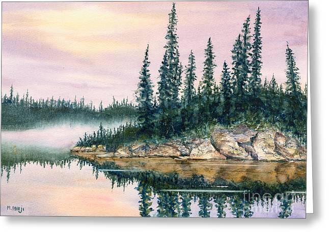 Mist Paintings Greeting Cards - Misty Morn Greeting Card by Mohamed Hirji
