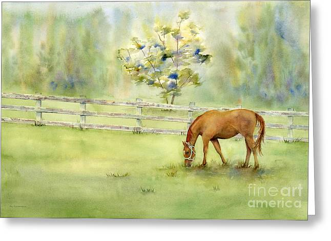 Wooden Fence Greeting Cards - Misty Morning Greeting Card by Amy Kirkpatrick