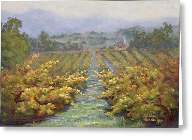 Grape Leaves Pastels Greeting Cards - Misty Morning Gold Greeting Card by Debbie Harding