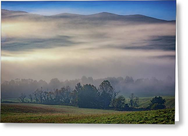 Misty Morning In Cades Cove Greeting Card by Rick Berk