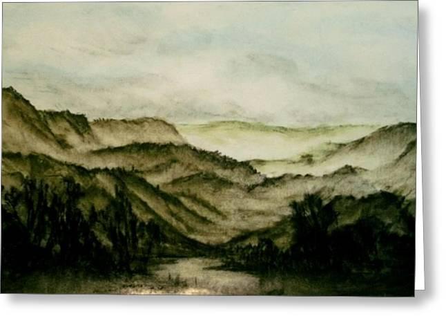 Misty Morning In Pa Greeting Card by Karen Cortese