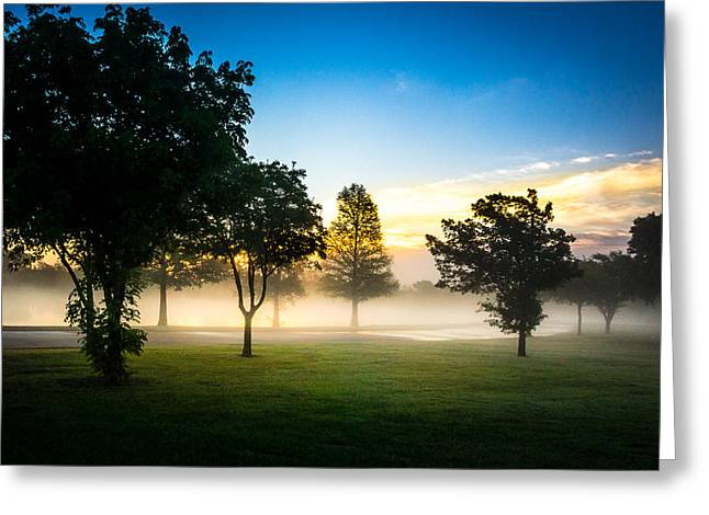 Blue Green Water Greeting Cards - Misty Morning Greeting Card by Liang Li