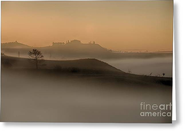Tuscan Sunset Greeting Cards - Misty morning Greeting Card by Maurizio Martini