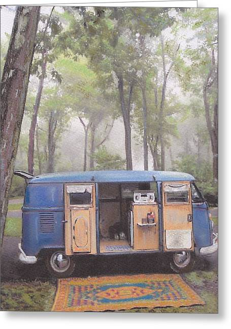 Historic Vehicle Pastels Greeting Cards - misty Morning Greeting Card by Sharon Poulton