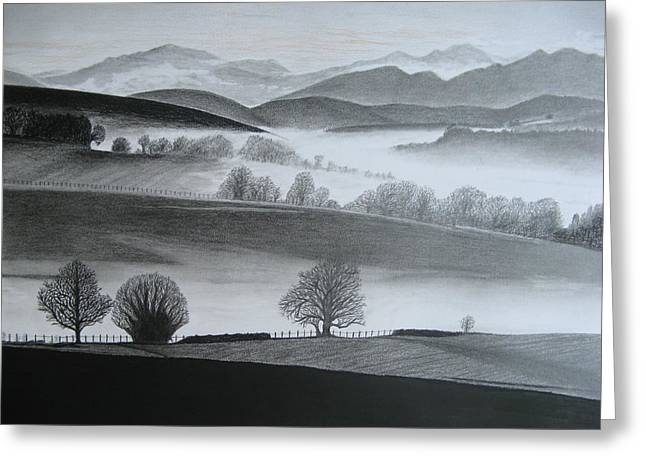 Amazing Sunset Drawings Greeting Cards - Misty Morning Greeting Card by Steve Keller