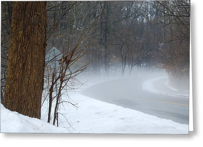 Akron Greeting Cards - Misty Morning Greeting Card by Trish Hale