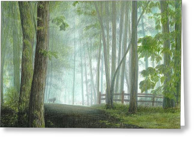 Mist Drawings Greeting Cards - Misty Morning Visitor Greeting Card by Carla Kurt