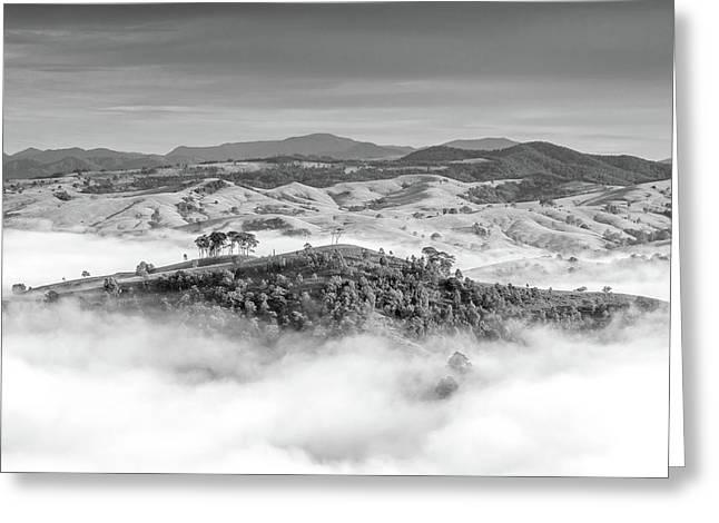 Misty Mountain Hop Greeting Card by Az Jackson