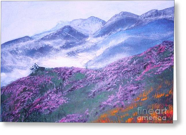 Smokey Mountains Paintings Greeting Cards - Misty Mountain Hop Greeting Card by Donna Dixon
