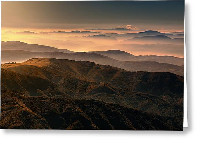 Field. Cloud Greeting Cards - Misty mountain layers Greeting Card by Radisa Zivkovic