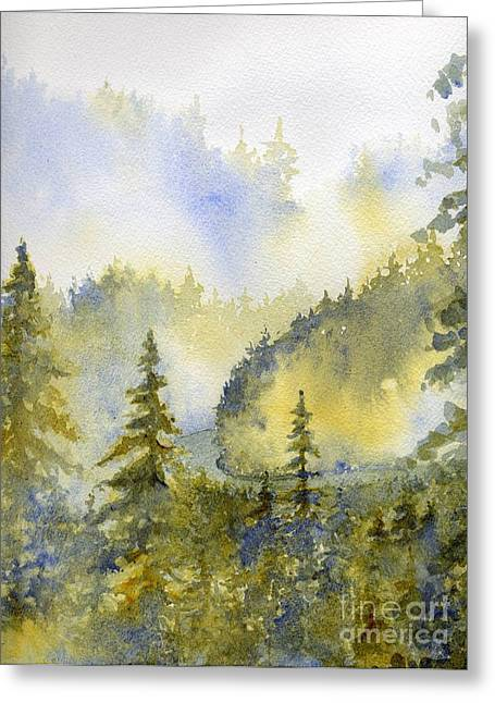 Smokey Mountains Paintings Greeting Cards - Misty Mountain Morning Greeting Card by Lisa Bell