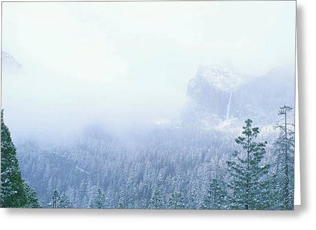 Enigmatic Greeting Cards - Misty Mountains In Yosemite Valley Greeting Card by Panoramic Images
