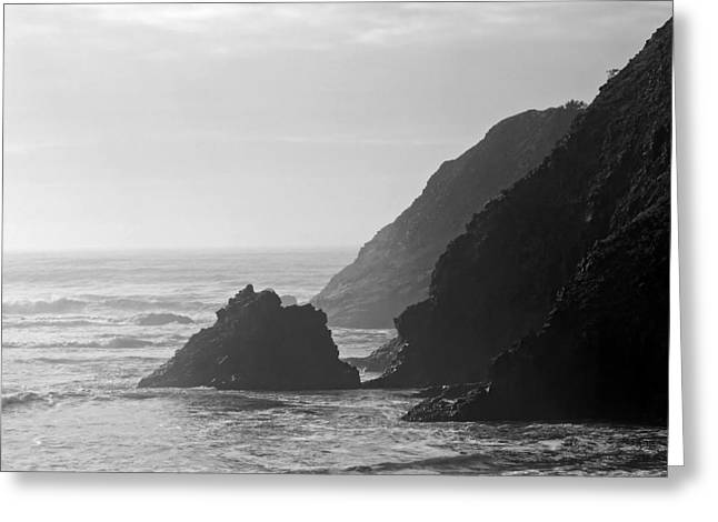 Foggy Ocean Greeting Cards - Misty Oregon Coast Greeting Card by Don Walls