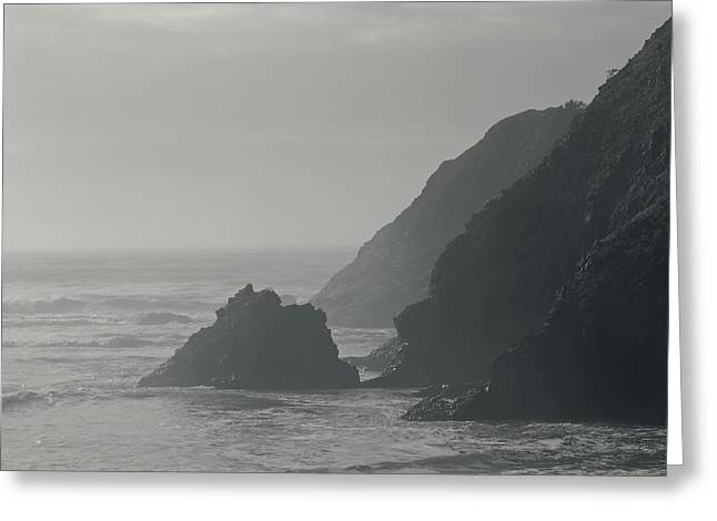 Foggy Ocean Greeting Cards - Misty Oregon Coastline Greeting Card by Don Walls