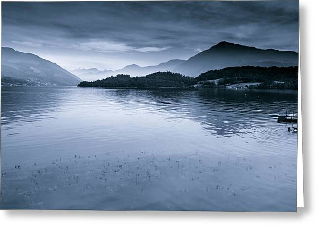 Outlook Greeting Cards - Misty Peaks In The Distance Greeting Card by Mah FineArt