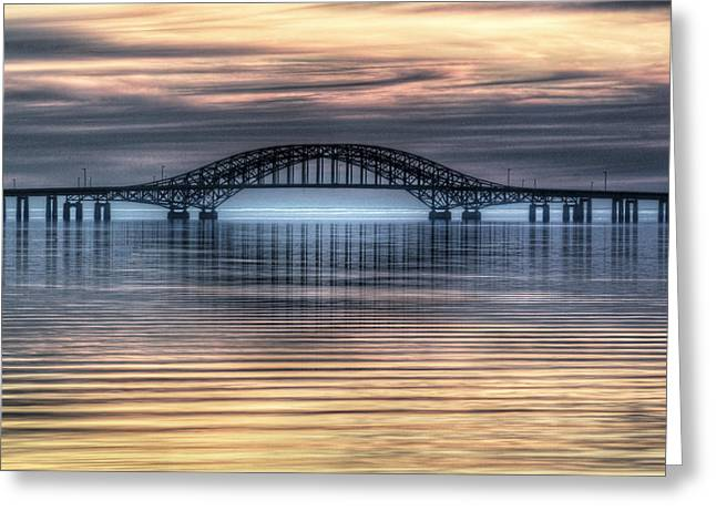 Robert Moses Greeting Cards - Misty Reflective Sunrise Greeting Card by Vicki Jauron