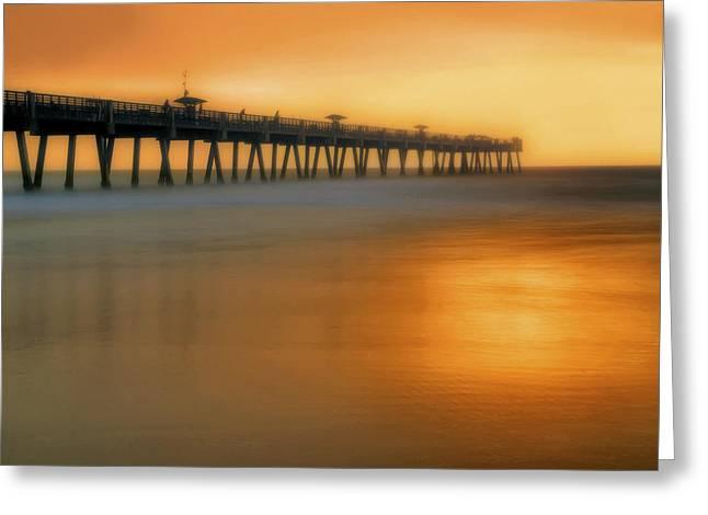 Foggy Beach Greeting Cards - Misty Seas at Jacksonville Beach Pier - Florida - Landscape - Seascape Greeting Card by Jason Politte