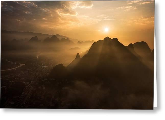 Misty Sunrise Greeting Card by Nadav Jonas