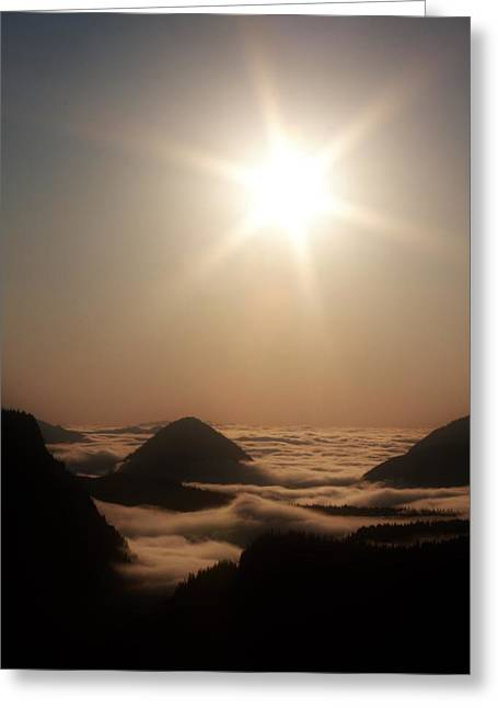 Sunset Prints Greeting Cards - Misty Valley Greeting Card by Stacie Gary