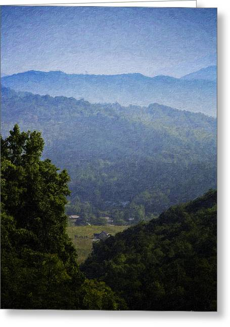 Franklin Farm Greeting Cards - Misty Virginia Morning Greeting Card by Teresa Mucha