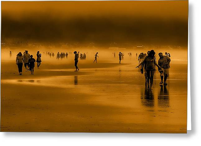 Foggy Beach Greeting Cards - Misty Walk Greeting Card by David Patterson