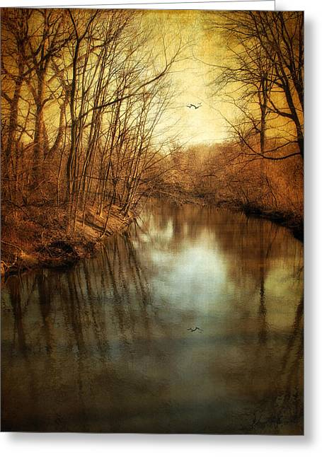 Fall Trees Greeting Cards - Misty Waters Greeting Card by Jessica Jenney